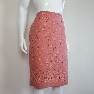 Vintage Red Gingham Pencil Skirt